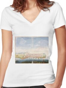 Vintage Pictorial Map of Macau China (1665) Women's Fitted V-Neck T-Shirt