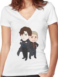 Sherlock and John Women's Fitted V-Neck T-Shirt