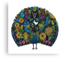 peacock garden white Canvas Print