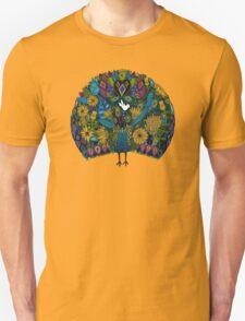 peacock garden white Unisex T-Shirt