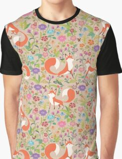 Flower Foxes Graphic T-Shirt