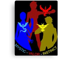 POKEMON GO TEAM INSTINCT, VALOR, MYSTIC, TRAINER T-SHIRT Canvas Print