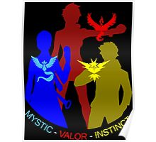 POKEMON GO TEAM INSTINCT, VALOR, MYSTIC, TRAINER T-SHIRT Poster