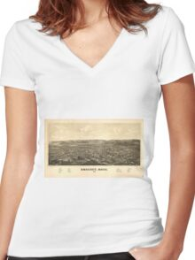Vintage Pictorial Map of Amherst MA (1886) Women's Fitted V-Neck T-Shirt