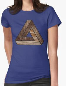 Penrose Triangle Wood Grain Womens Fitted T-Shirt