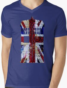 Union Jack TARDIS with Gallifreyan  Mens V-Neck T-Shirt