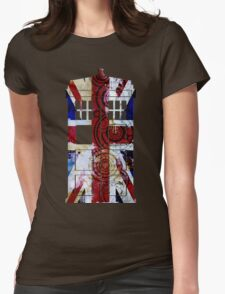 Union Jack TARDIS with Gallifreyan  Womens Fitted T-Shirt