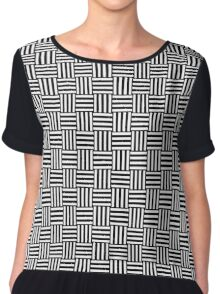 Black and White Weave Chiffon Top