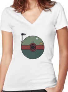 Boba Fett Pokemon Ball Mash-up Women's Fitted V-Neck T-Shirt