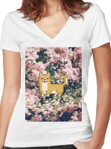 Shiba Inu Flower Pixel  Women's Fitted V-Neck T-Shirt