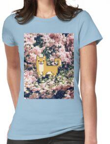 Shiba Inu Flower Pixel  Womens Fitted T-Shirt