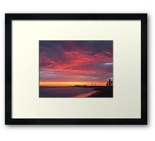 Red beach,  Nature, Seascape Framed Print