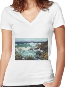Tide coming in at Pandanus Cove - plein air Women's Fitted V-Neck T-Shirt