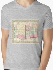 Vintage Map of Arizona and New Mexico (1867) Mens V-Neck T-Shirt