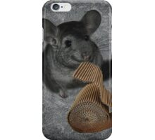 CHINCHILLA (LITTLE CHINCA) NIBBLING CARBOARD AND LOVIN IT PICTURE/CARD iPhone Case/Skin