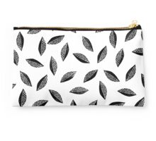 Lino cut printed pattern, nature inspired, handmade, black and white Studio Pouch