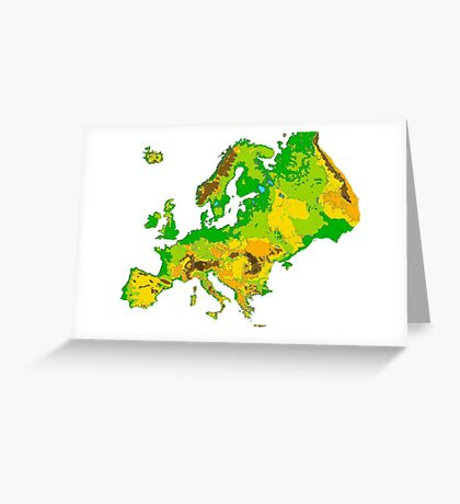 Physical Europe Map Greeting Card