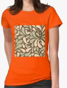 Retro,70's,pattern,vintage,rustic,teal,mint,brown,yellow,grunge Womens Fitted T-Shirt