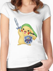 Pikachu: The Hero of Kanto - Link version Women's Fitted Scoop T-Shirt