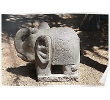Carved stone elephant Poster