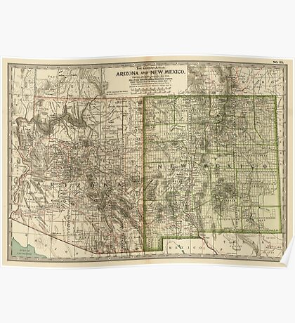 Vintage Map of Arizona and New Mexico (1899) Poster