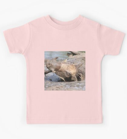 Warthog - African Wildlife Background - Healing Mud Bath Kids Tee