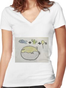 Puffer Fish Women's Fitted V-Neck T-Shirt
