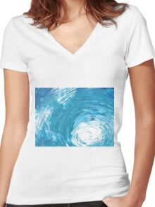 Wave of light Women's Fitted V-Neck T-Shirt