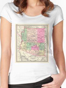 Vintage Map of Arizona (1881) Women's Fitted Scoop T-Shirt