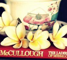 Frangipanis, Books And Teacup. Sticker