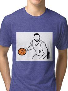 Dwyane Wade Dribbling a Basketball Tri-blend T-Shirt