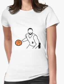 Dwyane Wade Dribbling a Basketball Womens Fitted T-Shirt