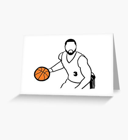 Dwyane Wade Dribbling a Basketball Greeting Card