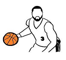 Dwyane Wade Dribbling a Basketball Photographic Print