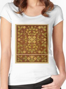 Vintage Leaf and Flower Brown Design Pattern Women's Fitted Scoop T-Shirt