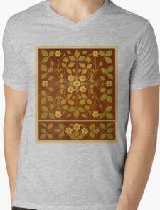 Vintage Leaf and Flower Brown Design Pattern Mens V-Neck T-Shirt