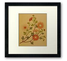 Vintage Pink and Red Wildflower Design Framed Print