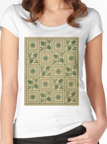 Vintage Green Vines, Leaves and Star Blocks Design Women's Fitted Scoop T-Shirt