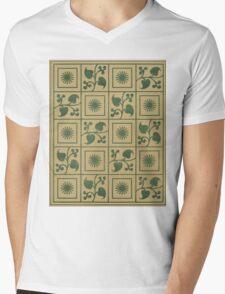 Vintage Green Vines, Leaves and Star Blocks Design Mens V-Neck T-Shirt