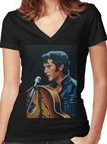 Elvis Presley 3 Painting Women's Fitted V-Neck T-Shirt