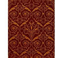 Orange and Red Decorative Spring Flower Design Photographic Print