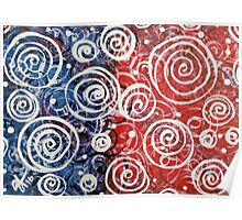 Spinning Tops Red White Blue and Swirls Patriotic  Poster