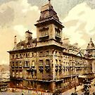 A digital painting of Great Western Hotel, Praed Street, Paddington, England, by Dennis Melling