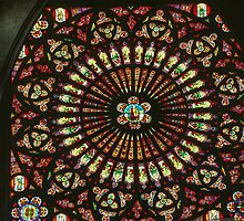 Centre of Rose Window in Transept Cathedral Troyes France 198405060010 by Fred Mitchell