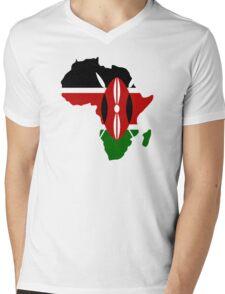 Kenya Flag Africa Map T-Shirt Mens V-Neck T-Shirt