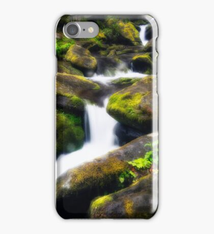 Spring Water Flowing Over Moss Rocks iPhone Case/Skin