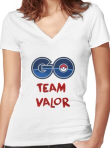 GO Team Valor - Pokemon Go Women's Fitted V-Neck T-Shirt