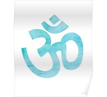 Om - Blue Watercolour Yoga Art Design Poster