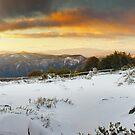 Craigs Hut Winter Sunset, Mt Stirling, Victoria, Australia by Michael Boniwell