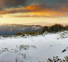 Craigs Hut Winter Sunset, Mt Stirling, Victoria, Australia by Michael Boniwell